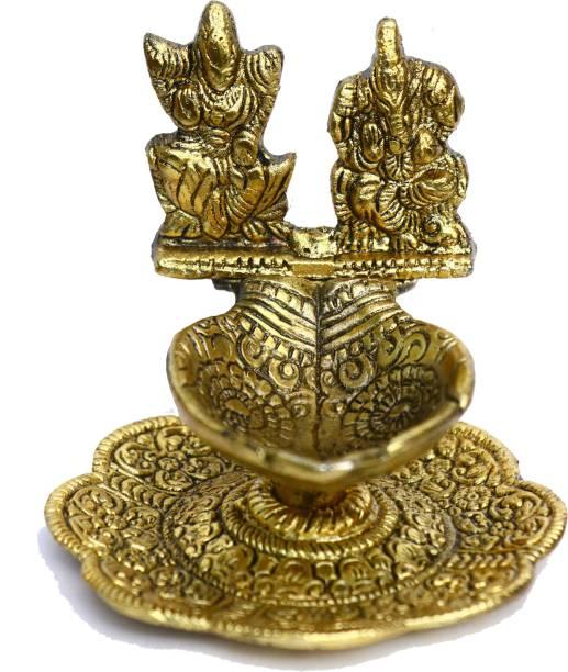 Chhariya Crafts Metal Laxmi Ganesh Diya For Home And Office Aluminium Table Diya