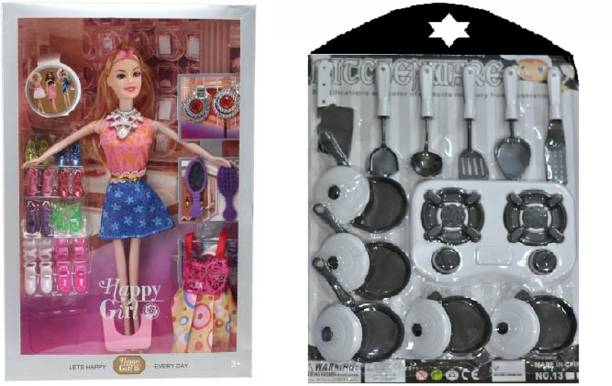 CADDLE & TOES Doll House for Girls / Doll Set with Pink Slippers Doll , 10 Sets of Fashion Accessories, Dress, earrings + Doll House Kitchen Set