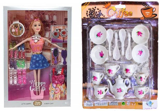 CADDLE & TOES Doll House for Girls / Doll Set with Pink Slippers Doll , 10 Sets of Fashion Accessories, Dress,earings /Mini Kitchen