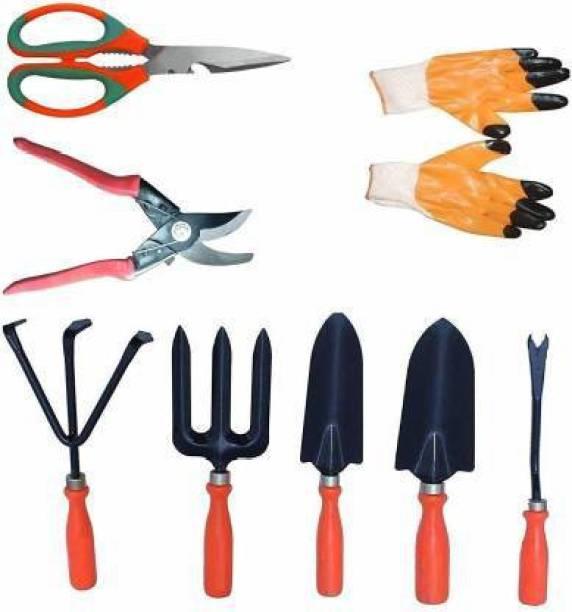 Flipkart SmartBuy Trowel Set of 5, German Type Pruner, Garden Scissor and Gardening Gloves Combo Garden Tool Kit