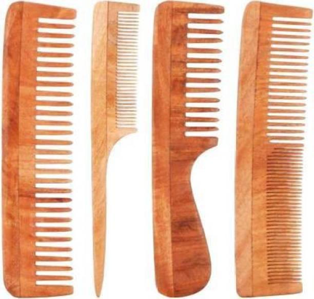 Pitambara Neem Wood Combo Set of 4 Anti-Bacterial, Anti-Allergic, Anti-Fungal and Anti-Dandruff Hair Comb