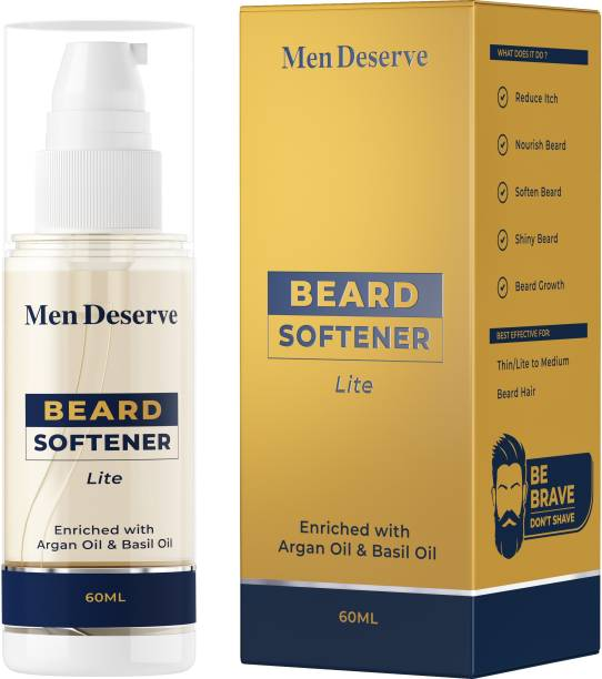 Men Deserve Beard Softener Lite enriched with Argan Oil & Basil Oil for Soft, Shiny & Strong Beard