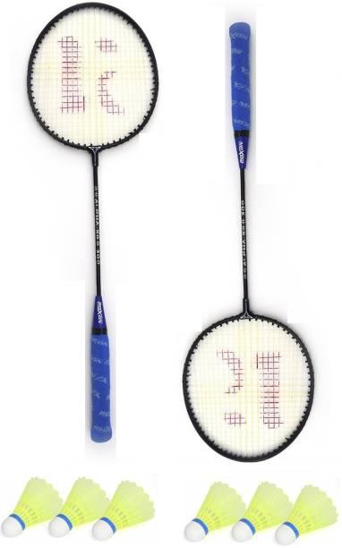 ROXON Alpha Iron Body Badminton Racket Pack Of 2 Piece Badminton With 6 Piece Plastic Shuttles Badminton Kit