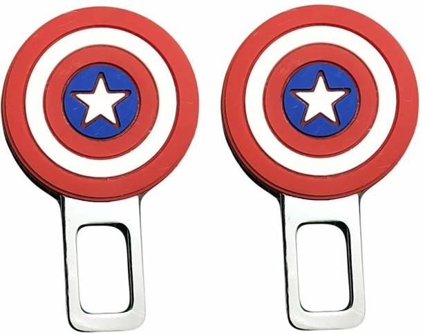 carfrill Alarm Stopper Captain America Design Null Insert Seat Belt Buckle Clip for All Cars (Multicolor) - Set of 2 Seat Belt Extender Clip