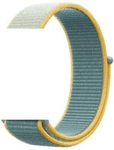 gettechgo Soft Nylon 20mm Strap Band Compatible with Samsung Galaxy Watch 3 41mm, Galaxy 42mm, Galaxy Active 40mm, Active 2 (40-44mm) / AmazeFit BIP/BIP Lite/AmazeFit GTS, Amazefit GTR (42mm) / VivoActive 3 / RealMe Classic, Fashion & Smartwatches with 20mm Lugs (SunShine) Smart Watch Strap