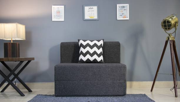 uberlyfe Sofa Cum Bed - Perfect for Guests- Jute Fabric Washable Cover with 1 Cushions(Zigzag Pattern)- Dark Grey   3' X 6' Feet Single Sofa Bed