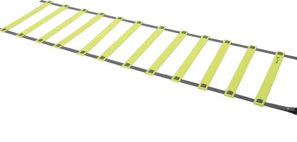 DE JURE FITNESS Adjustable Grey Yellow Agility Ladder 6M Strap 12 Rungs Set Speed Ladder