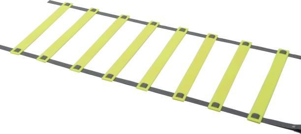 DE JURE FITNESS Adjustable Grey Yellow Agility Ladder 4M Strap 8 Rungs Set Speed Ladder