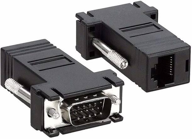 Tobo  TV-out Cable VGA Male to RJ45 Female Converter Head VGA Extender Male to LAN Cat5/ Cat5e/ RJ45 Ethernet Adapter.(1 Pair)