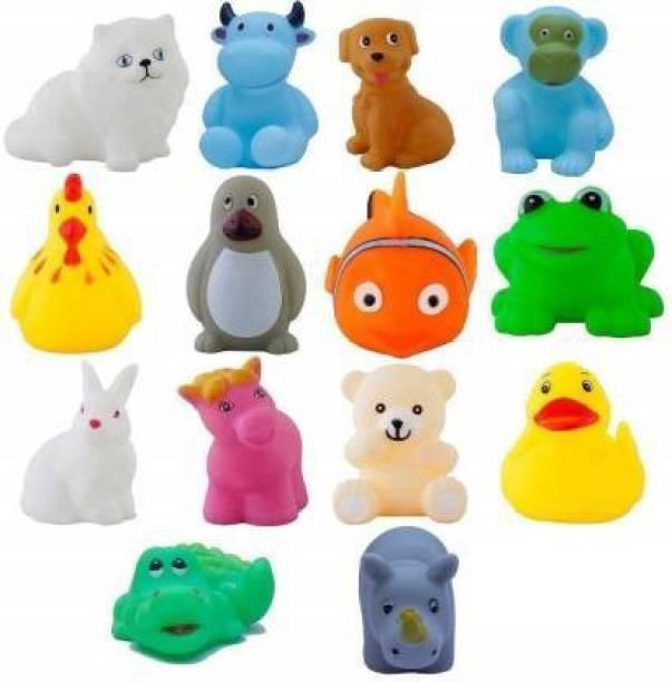 Rangwell Non-Toxic Squeezy Chu Chu Sound Bathtub Toys for Toddler Kids (14 PC Set) Bath Toy (Multicolor) Bath Toy