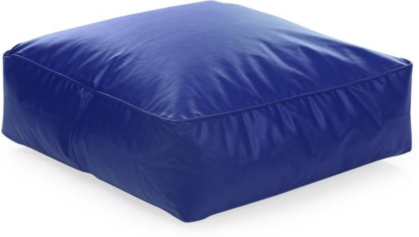 STYLE HOMEZ Large Classic Square Floor Cushion Royal Bean Bag Footstool  With Bean Filling