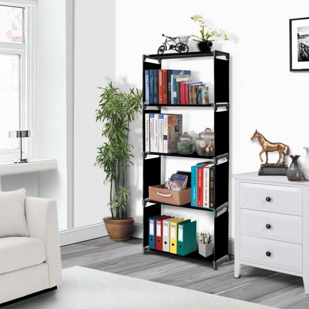FURIONE BLACK- 5-SHELVE MULTIPURPOSE Metal Open Book Shelf