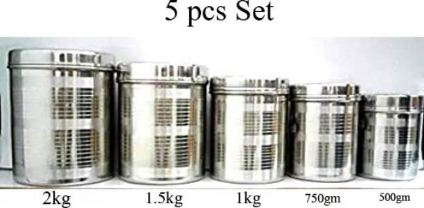 Rajlaxmi steel dibba 5 pcs 500 ml to 2 kg size dibba set  - 2 L Steel Tea Coffee & Sugar Container