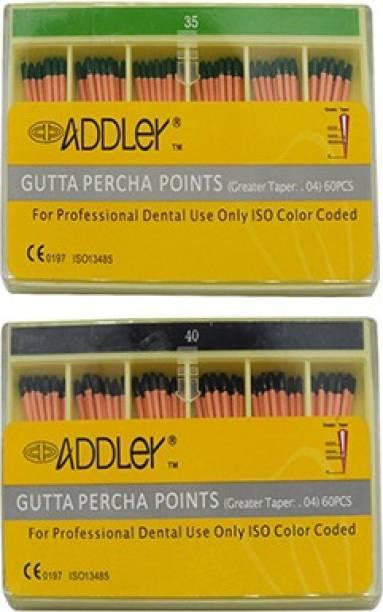 ADDLER DENTAL GUTTA PERCHA POINTS 4% (2X60 Sticks Each) SIZES:- 35, 40. TOTAL 2 PKTS