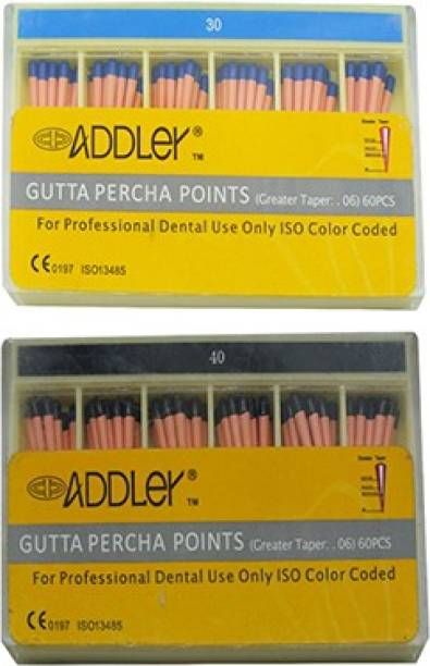 ADDLER DENTAL GUTTA PERCHA POINTS 6% (2X60 Sticks Each) SIZES:- 30, 40. TOTAL 2 PKTS