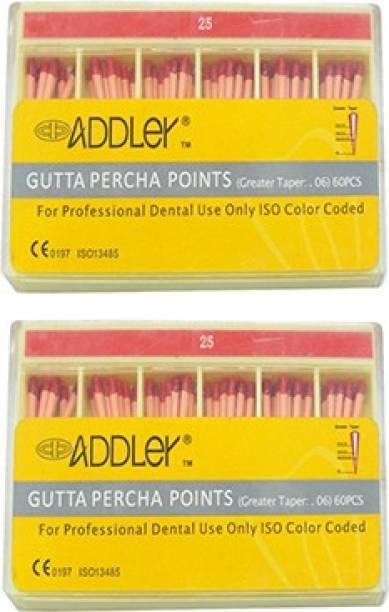 ADDLER DENTAL GUTTA PERCHA POINTS 6% (2X60 Sticks Each) SIZES:- 25, 25. TOTAL 2 PKTS