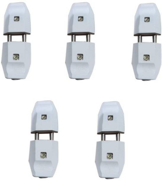 ROSHANI MARKETING 2 PIN MALE -FEMALE TOP PLUG 6 AMP Two Pin Plug (White) (Pack of 5) 2 PIN MALE -FEMALE TOP PLUG 6 AMP (Pack of 5) Two Pin Plug