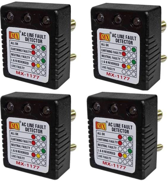 MX 4Pcs of AC Electrical Line Fault Detector 1177 5 A Three Pin Socket
