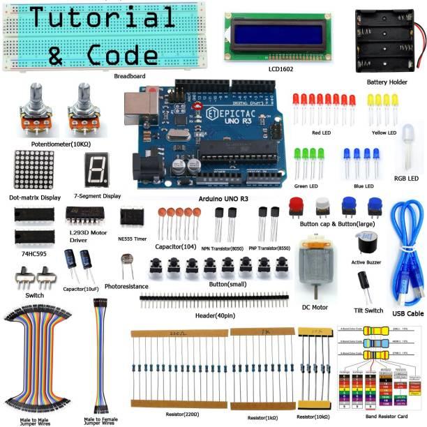 EPICTAC Super Starter Kit for Arduino UNO R3, LCD1602, Breadboad, DC Motor, Starter/Beginner Kit for Arduino with Tutorial and Code Educational Electronic Hobby Kit
