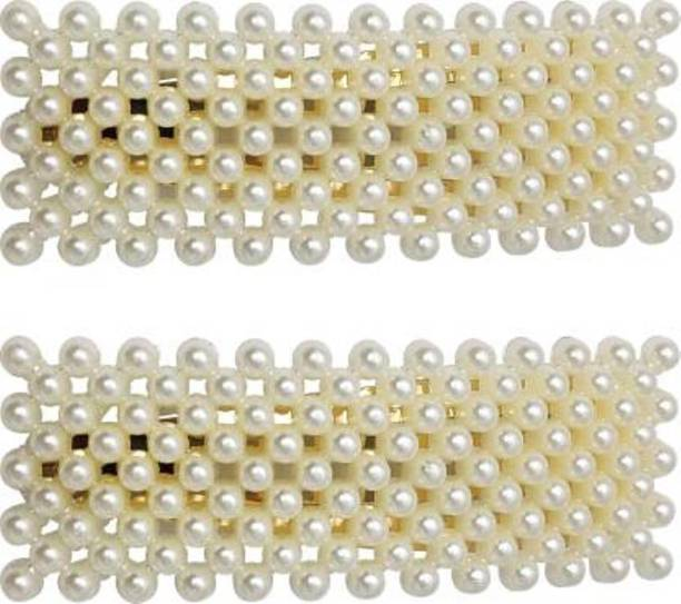 Gogi Enterprises Pearl Gold Toned Triangular Full Cover Clip Hair Pin Tic Tac Partywear Tic Tac Clip
