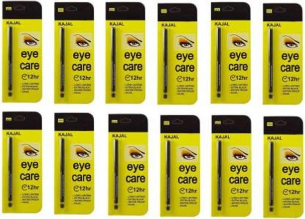 Glamezone Eye Care Kajal Long Lasting Extra Black Waterproof pack of 12