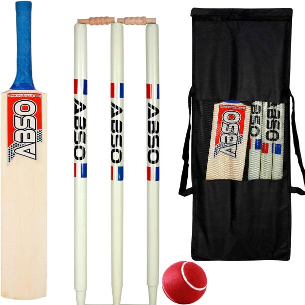 abso Wooden Cricket kit Bat Size 3 For Age Group 8 Years (1 Piece Cricket Bat, 3 Piece Wickets, 2 Piece Bails, 1 Piece Ball, 1 Piece Kit Bag) Cricket Kit