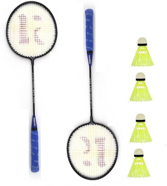 ROXON Alpha Pack Of 2 Piece Badminton Racket With 4 Piece Plastic Shuttles Badminton Kit