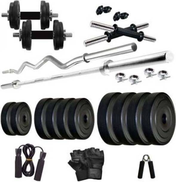 sai kirpa traders 20 kg� Pvc 20 Kg with 3ft Straight & Curl Bar & Gym accessories Home Gym Combo