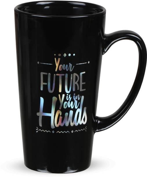 CupShup Ceramic for Coffee/Tea (Microwave Safe; 450 ML) (BlackLongSilver_YourFuture) Ceramic Coffee Mug