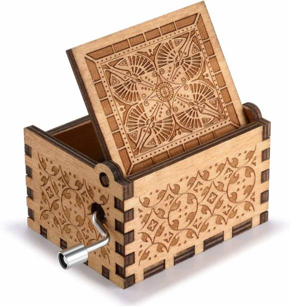Fusked Wooden let it go Music Box,Hand Crank Classic Antique Carved Wood Musical Boxes Birthday for Kids Children … (Wood) (Let it Go)