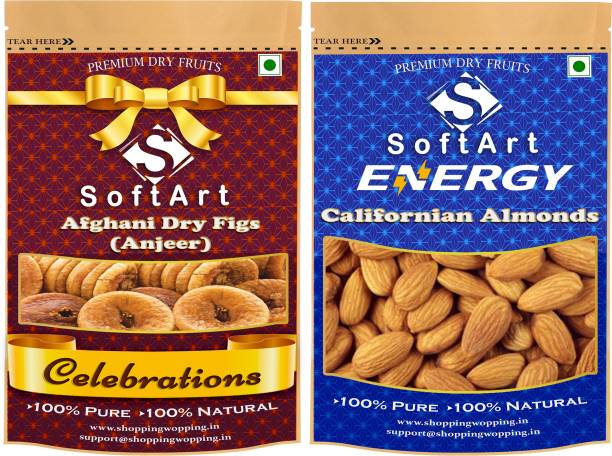Soft Art Dry fruits combo of Dry Figs (Anjeer) & Californian Almonds (100g Each) Figs, Almonds