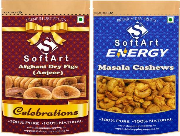 Soft Art Dry fruits combo of Dry Figs (Anjeer) & Masala Cashew (kaju) (100g Each) Figs, Cashews
