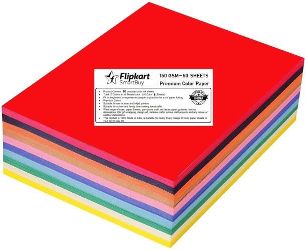 Flipkart SmartBuy Paper Multicolor Solid Color DIY Card Children Scrapbook Papers Origami Paper Handmade Craft Wrapping Gift color paper A4 150 gsm Craft paper