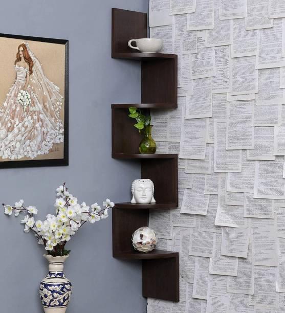 Furniture Cafe Furniture Cafe Zigzag Corner Wall Mount Shelf Unit/Racks and Shelves/Wall Shelf/Book Shelf/Wall Decoration (Walnut Finish, Brown) MDF (Medium Density Fiber) Wall Shelf
