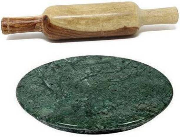 Dream Product Factory Green Marble Chakla with Wooden Belan Rolling Pin & Board Rolling Pin & Board