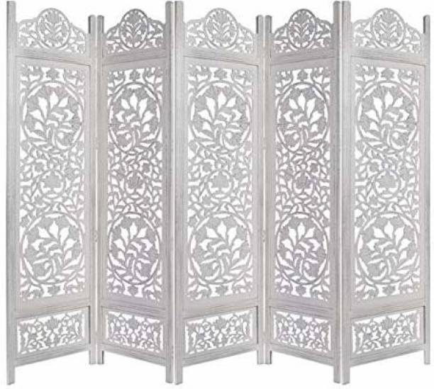 Decorhand Handcrafted 5 Panel Wooden Room Partition & Room Divider (White) Solid Wood Decorative Screen Partition