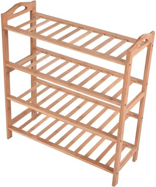 HOKiPO 4 Tier Bamboo Slipper Chappal Storage Organizer Utlity Racks, 70 x 60 x 26 cm (AR2937) Solid Wood Shoe Stand