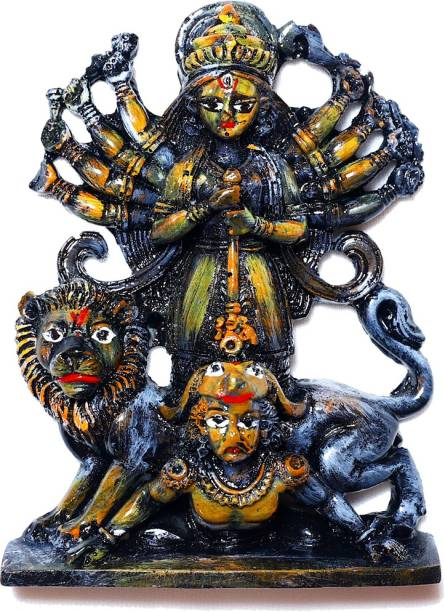 ARD ENTERPRISE Durga Idol Black Suitbale for Home, office, Puja Room Decorative Showpiece  -  15 cm