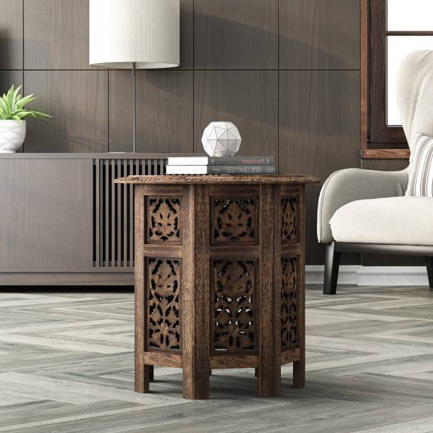 House of Pataudi Wooden Handcrafted Carved Solid Folding Brown Coffee Table Solid Wood Side Table