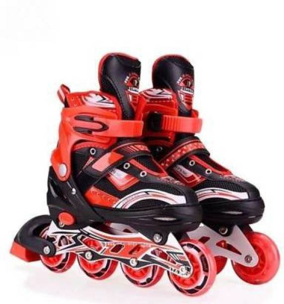 J K INTERNATIONAL High quality Skating in-line Shoe have different size and with PU LED wheel In-line Skates - (Red) In-line Skates - Size 6-9 UK