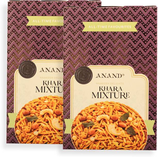 Anand Khara Mixture - South Spice Namkeen MIX with Curry Leaves (Pack of 2)