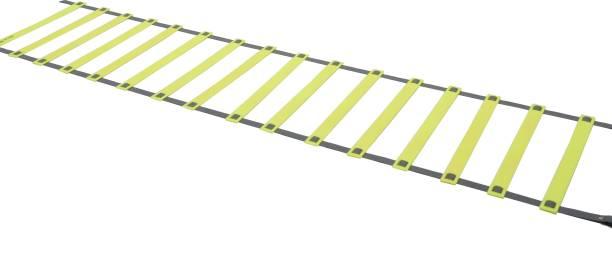 DE JURE FITNESS Adjustable Grey Yellow Agility Ladder 8M Strap 16 Rungs Set Speed Ladder