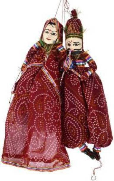 Aditya Creation Handcrafted Rajasthani Wood Folk Puppets aka Kathputli aka Rajasthani Dolls Art, Handmade Puppet Pair for Home Décor, Cultural Program and Events. Hand Puppets Marionettes