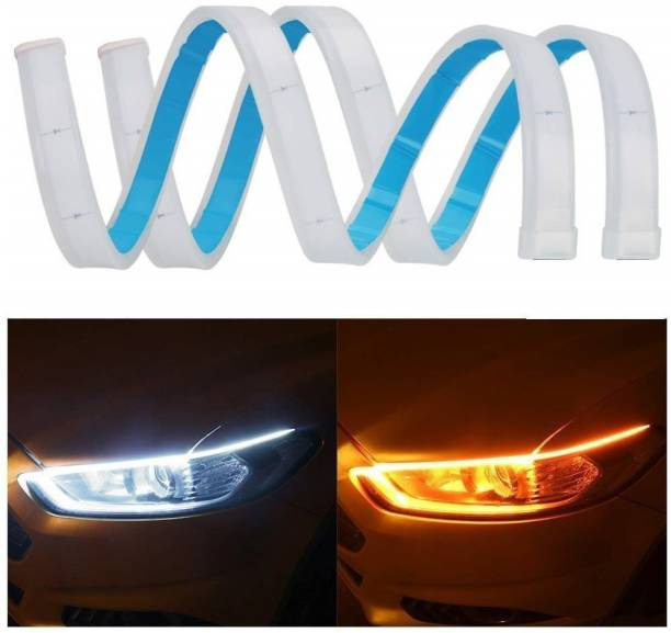 "AuTO ADDiCT DRL 2Pcs 60Cm (24"") Car Headlight Led Tube Strip, Flexible Daytime Running Silica Gel Strip Light Yellow,White Car Fancy Lights"
