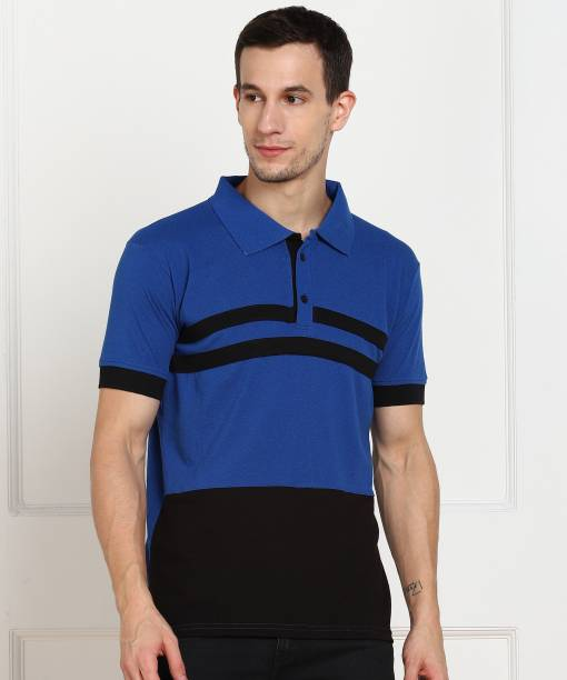 Flinck Striped Men Polo Neck Black, Blue T-Shirt