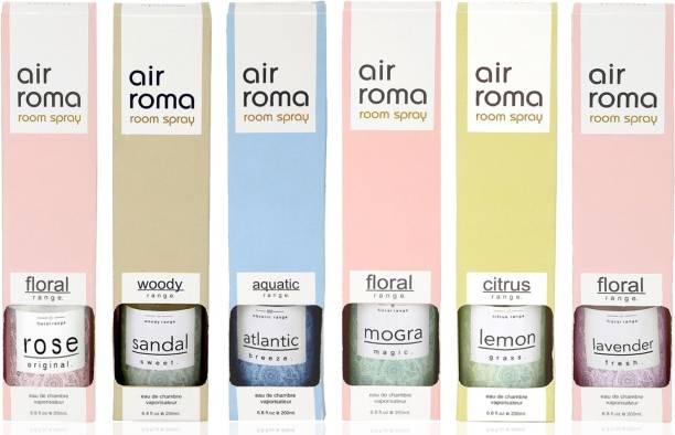 Airroma Combo of 6 Air Freshener Spray 200 ml each Rose (Original , Sandal Sweet, Atlantic Breeze, Mogra Magic, Lemon Grass, Lavender Fresh ) Spray, Diffuser