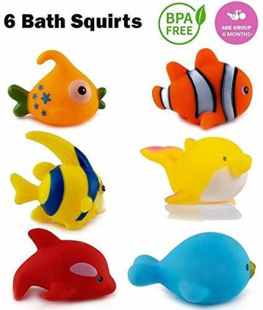 Wishkey Chu Chu Bath Toys For Baby Aquatic Fish Animals Set of 6 Non Toxic BPA Free Bath Toy