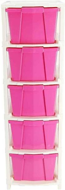 HUMBLE KART Plastic Free Standing Chest of Drawers (Finish Color - PINK) Plastic Free Standing Chest of Drawers
