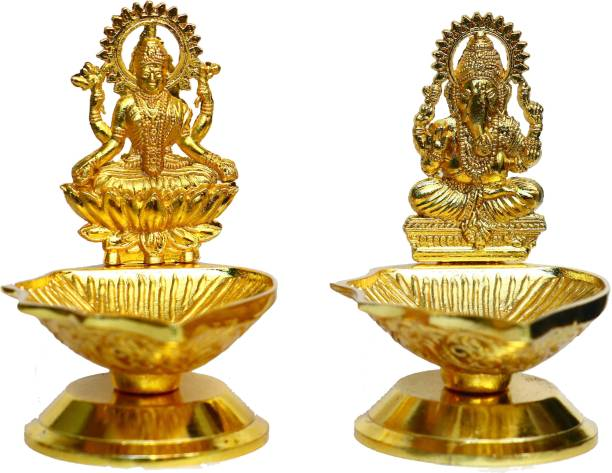 Chhariya Crafts Metal Lord Laxmi Ganesh Diya Deepak For Home And Office Temple Gift Item Aluminium (Pack of 2) Table Diya Set