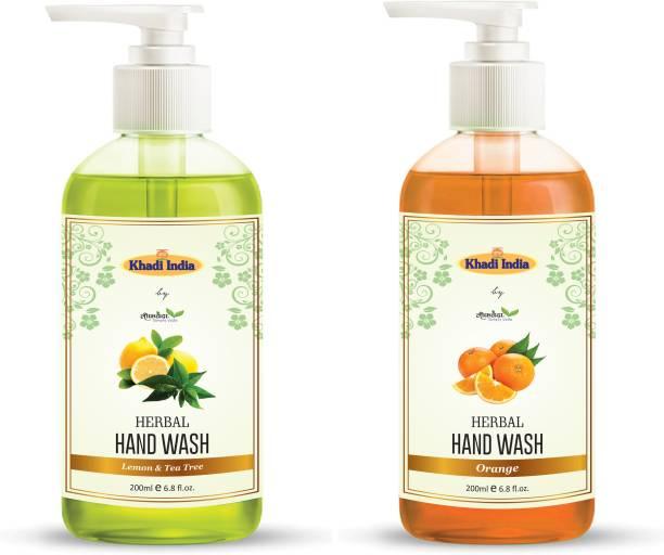 Leafveda 2Combo Pack Of Natural Lemon and Tea Tree Handwash and Orange Handwash Hand Wash Pump Dispenser